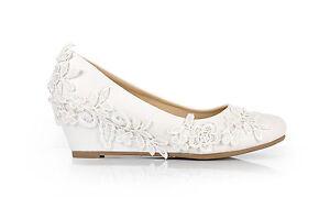 blanc crochet dentelle talon compense mariage ballerines chaussures - Chaussure Compense Mariage