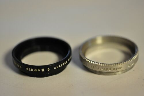 Tiffen 28.5mm push on adapter to accept a series V filter. With retaining ring.