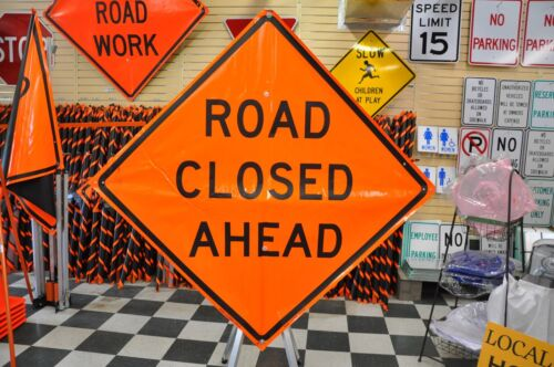 """Road Closed Ahead Fluorescent Vinyl With Ribs Roll Up Road Sign 48"""" X 48"""""""