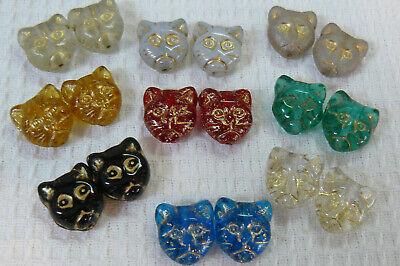Czech glass cat face beads- Clear,Black, Aqua, Green, Red, Topaz, Opal -10 beads