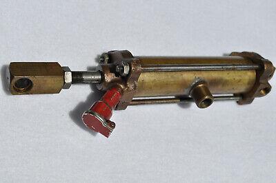 Vintage Brass Pneumatic Cylinder W Red Oiler Cap Steam Engine Steampunk