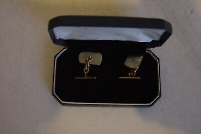 PAIR OF 9CT GOLD ENGINED TURNED CUFFLINKS.9.1 GRAMS,WEAR OR SCRAP