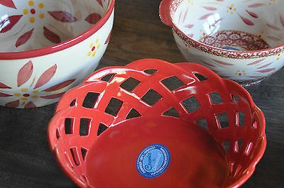Basket Frühstückskorb Brotkorb Steinzeug Rot Keramik Lavandoux Temp-Tations ()