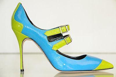 Neu Manolo Blahnik Mary Jane Electron Blau Grün Patent Ferse Pumps Schuhe 36.5 Patent Mary Jane Schuhe