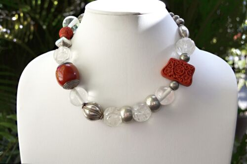 """Art Deco Old CHINESE Export Carved Rock Crystal Cinnabar Sterling CHOKER 17"""""""