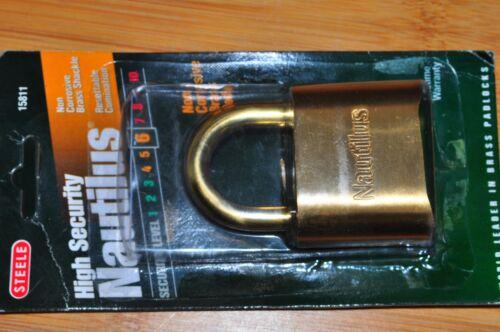 "Steele Lock Nautilus Maximum Security Combination Brass 2"" Padlock BRASS SHACKLE"