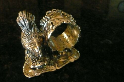 Victorian Era Silver Plated Napkin Ring with Rooster