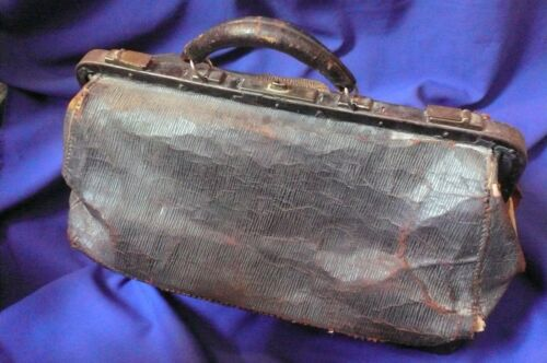 Antique Vintage Doctors Medical Bag Satchel Black Leather Metal Frame