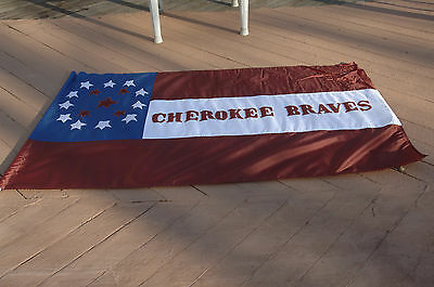 "Cherokee Braves Flag, Full-sized (80"" x 48"") reproduction, proper font, etc."