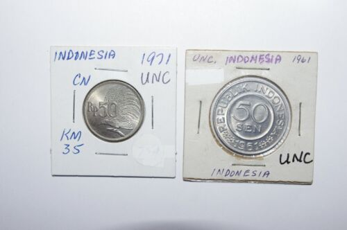 1961 & 1971, 50 Sen and 50 Rupiah Indonesia a Lot of 2 UNC / or High Grade Coins