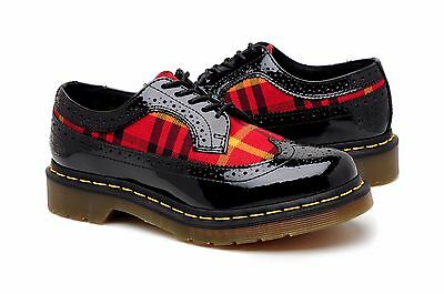 Dr Martens Womens Shoes Marnie Holiday R13504001 Black Patent Lamper Red - Red Holiday Shoes