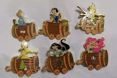 Merry Christmas, 11 Fantasy disney princesses train Snow white, Ariel 2 pin set