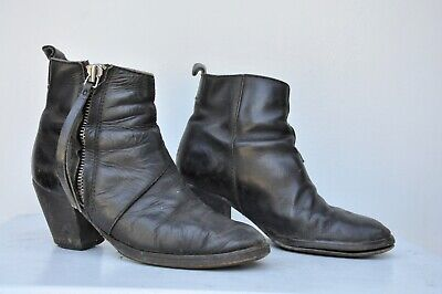 ACNE Studios Pistol Boots Black Leather Side Zip Ankle Booties StackedHeel 6.5 7