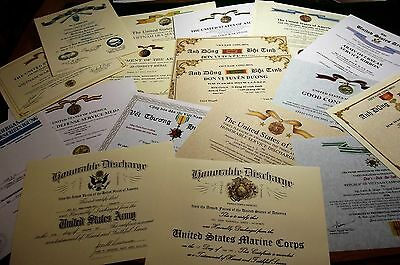 Pick 4 Military Documents /Certificates for only $54.95 Army Navy USMC USAF USCG