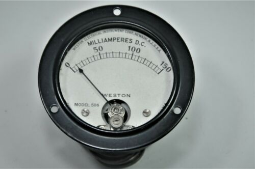 "Vintage Weston Model 506 Milliamperes Panel Meter DC 0-150 mA  2.5875"""