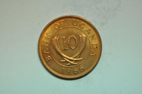 mw12220 Uganda; 10 Cents 1966  KM#2  UNC