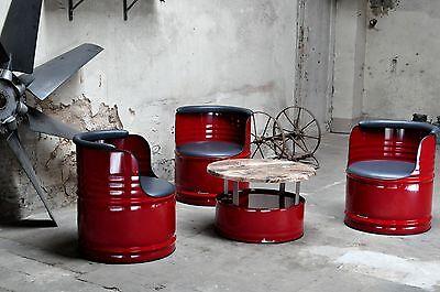 3x Stuhl + Tisch Sitzgruppe 200l Neu Fass Ölfass Fässer Barrel Pulverbeschichtet