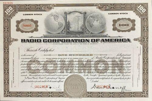 100 Shares of Radio Corporation of America (RCA) SPECIMEN Certificate