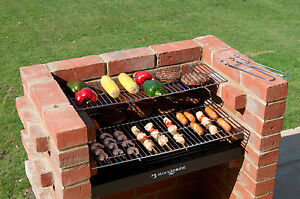 BRICK BBQ KIT BKB401 BLACK KNIGHT HEAVY DUTY WITH STAINLESS STEEL COOKING GRILL