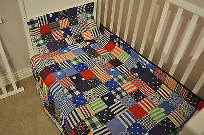Handmade Patchwork Boys Cot or Cot Bed Quilt & Pillow Blue! Spots Stripes!