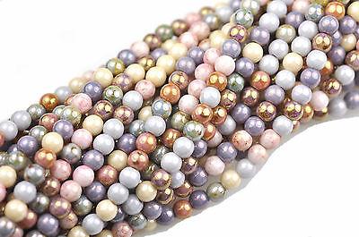 100 Luster Mix Czech Glass Round Druk Beads 4MM
