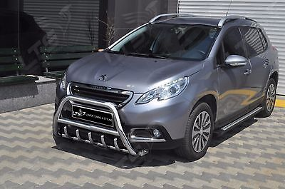 PEUGEOT 2008 CHROME AXLE NUDGE A/BAR, STAINLESS STEEL BULL BAR 2013 ONWARDS