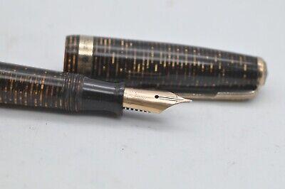 Lovely Vintage Parker Vacumatic Fountain Pen Brown Tigers Eye Stripe Pattern