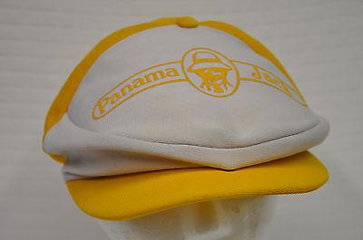 Vintage PANAMA JACK yellow/white Newsboy Hat Cap Snapback (Yellow Newsboy Cap)
