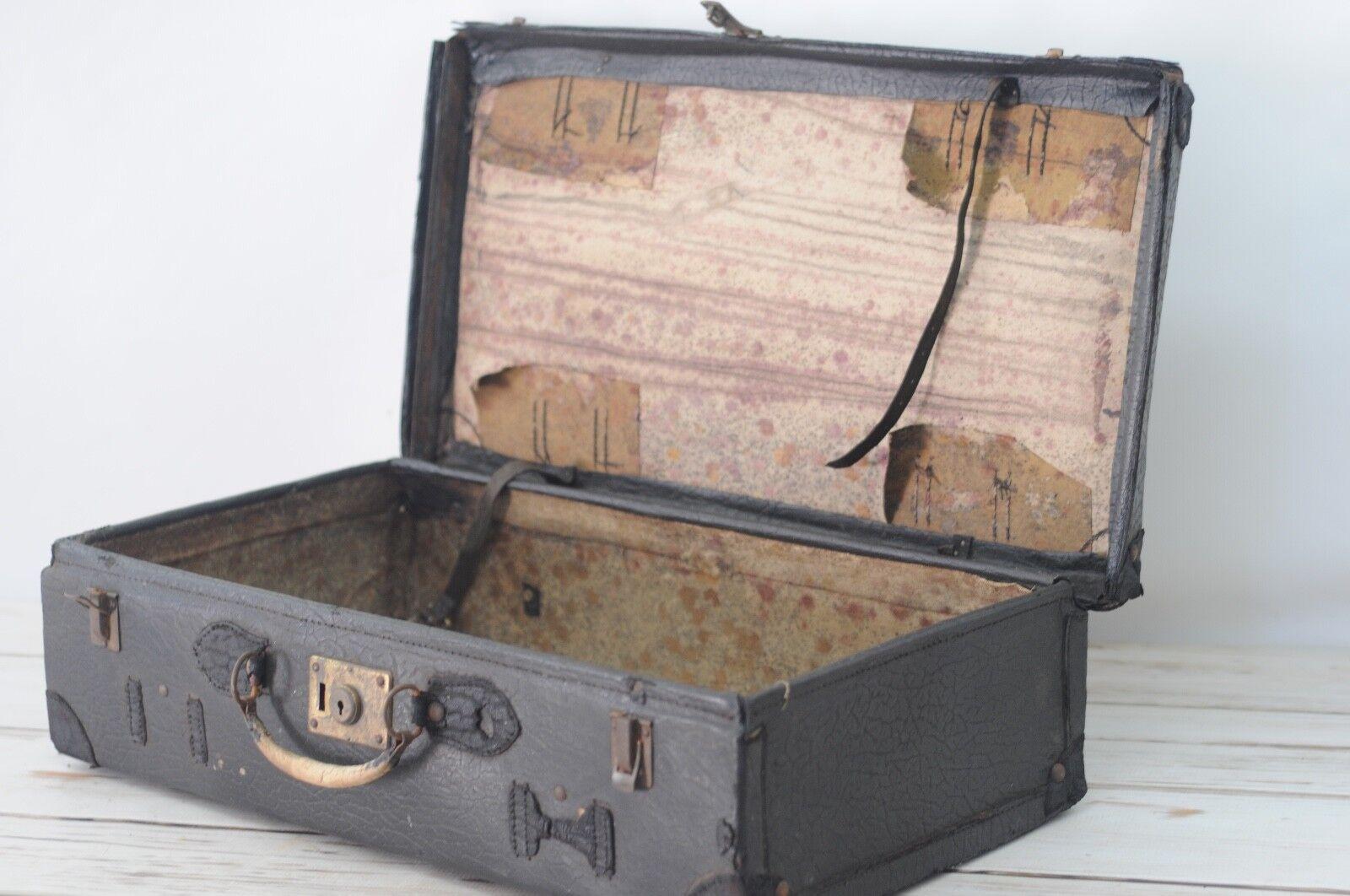 Antique/Vintage Black Leather Suitcase Luggage Roller Derby Case Roller Skates B