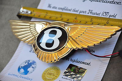 Bentley Boot Rear Badge GT GTC Electric Push Badge 3W0853630J 24K Gold Plated