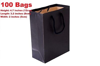 100 Black Recycled Paper Carrier Bags 4.5x3x1.5inches(12x8x4cm)-Cardboard Retail