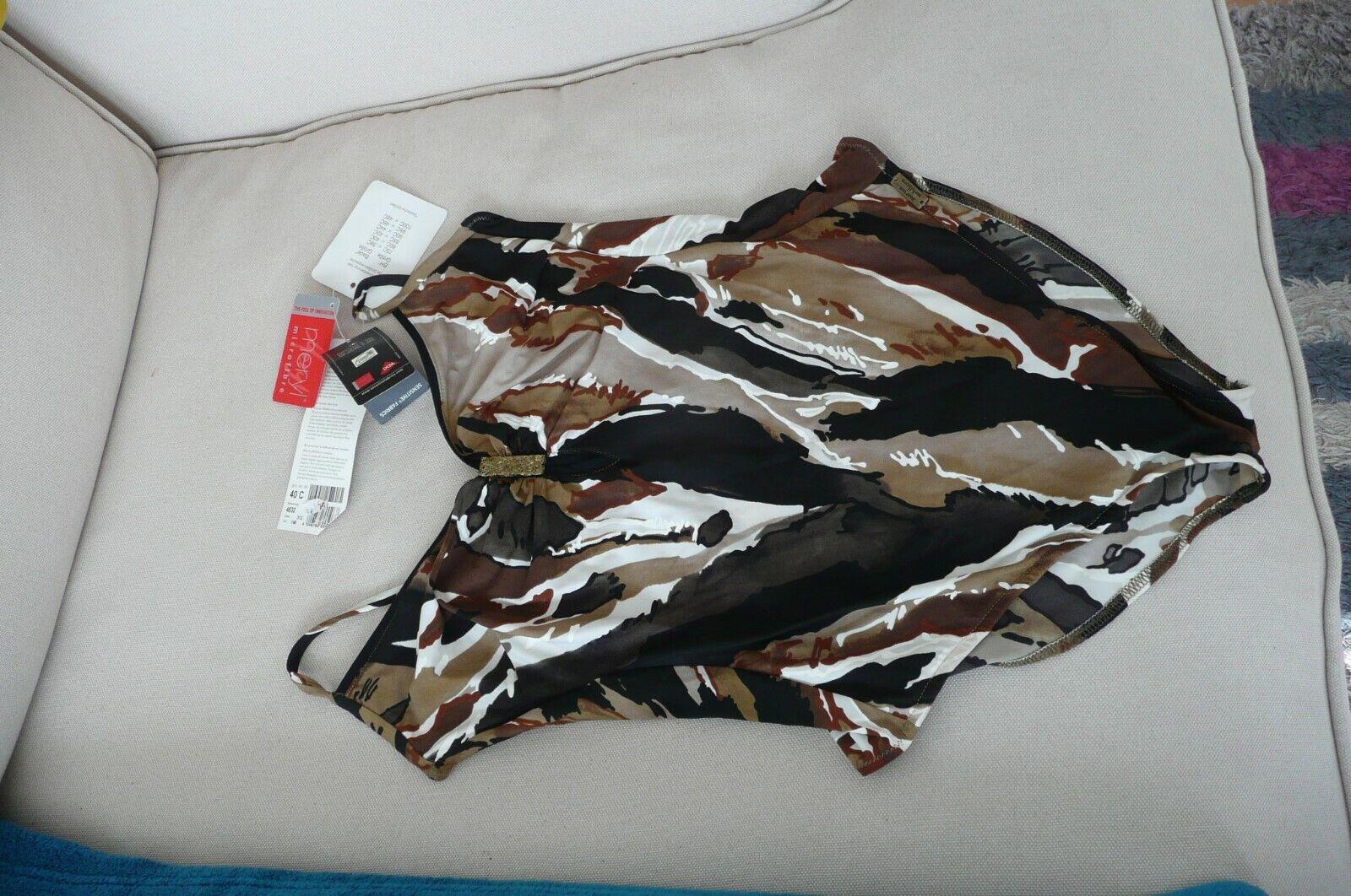 Badeanzug-Größe 80 C-braun/schwarz/weiß-Mikrofaser von Maryan Mehlhorn-NEU!!!
