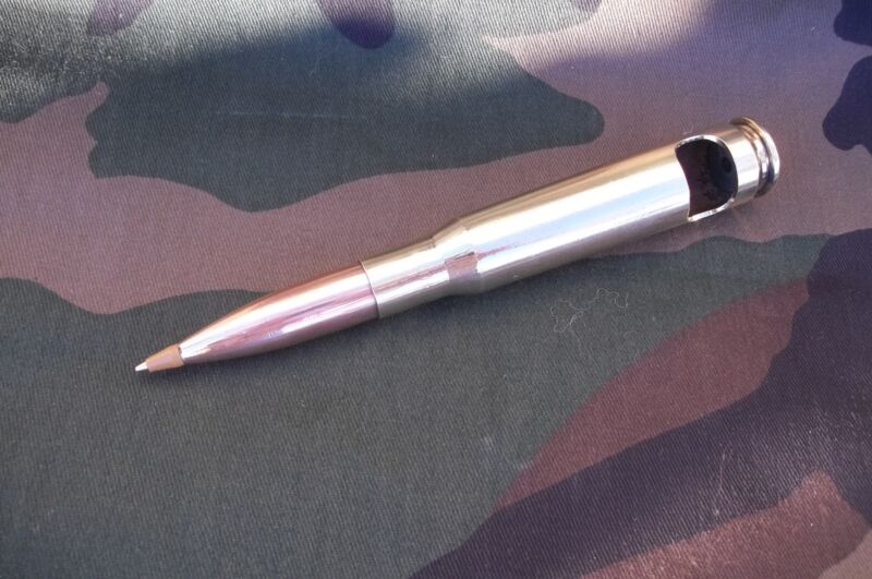 5  50 cal bmg Bullet BALL POINT PEN/Bottle Opener  BLUE