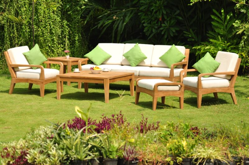 6 Pc Large A Grade Teak Wood Garden Outdoor Patio Sofa Set Lounge Pool Deck Nod