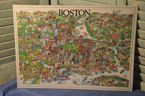 Vintage 1977 Boston Massachusetts City Character Print Drawing Map Poster Unique