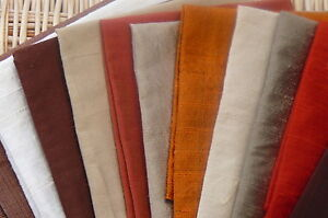 MIXED LOT 100% SILK DUPION -  FABRIC REMNANTS CRAFTS  x 11