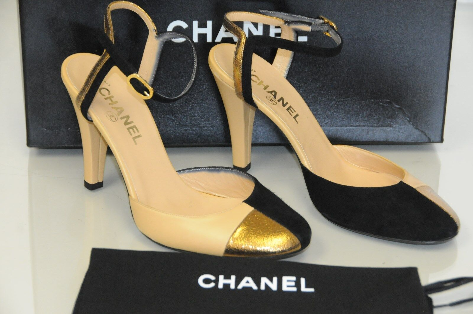 995 New Chanel Beige Black Gold Leather Suede Ankle Strap CC Logo Shoes 38