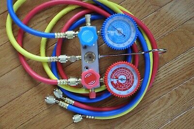 Manifold Gauge5ft Hose Set For R22 R134a R404a Alloy Body Ac Hvac Charging Tool