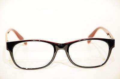 Zenni Optical Black Red Acetate Eyglasses 52 19 144 New