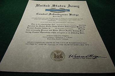 Army Combat Infantryman Badge Medal Replacement Certificate CIB