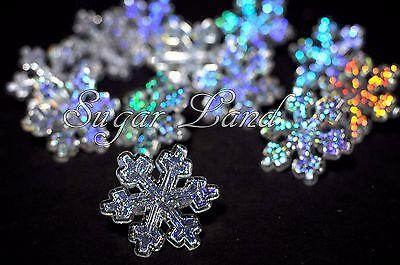 Frozen Cake Supplies (24 Disney Frozen Snowflake Cupcake Cake Rings Hologram Decorating Party)