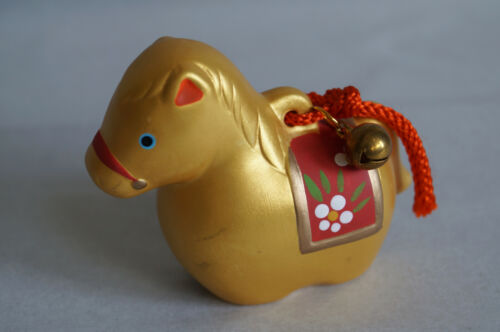 2 inch Japanese Old Clay Bell Dorei : design Gold Horse : by Yakushigama