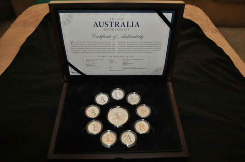 **RARE Only 95** 2015 Australia Silver 10 Coin Set Colorized Alphabet Box & COA
