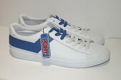 MEN'S PONY TOP STAR WHITE BLUE LEATHER CASUAL SHOES SIZE 10 NEW