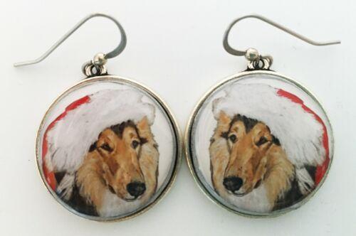 Santa Collie Rough Collie Dog Christmas Original Art Earrings