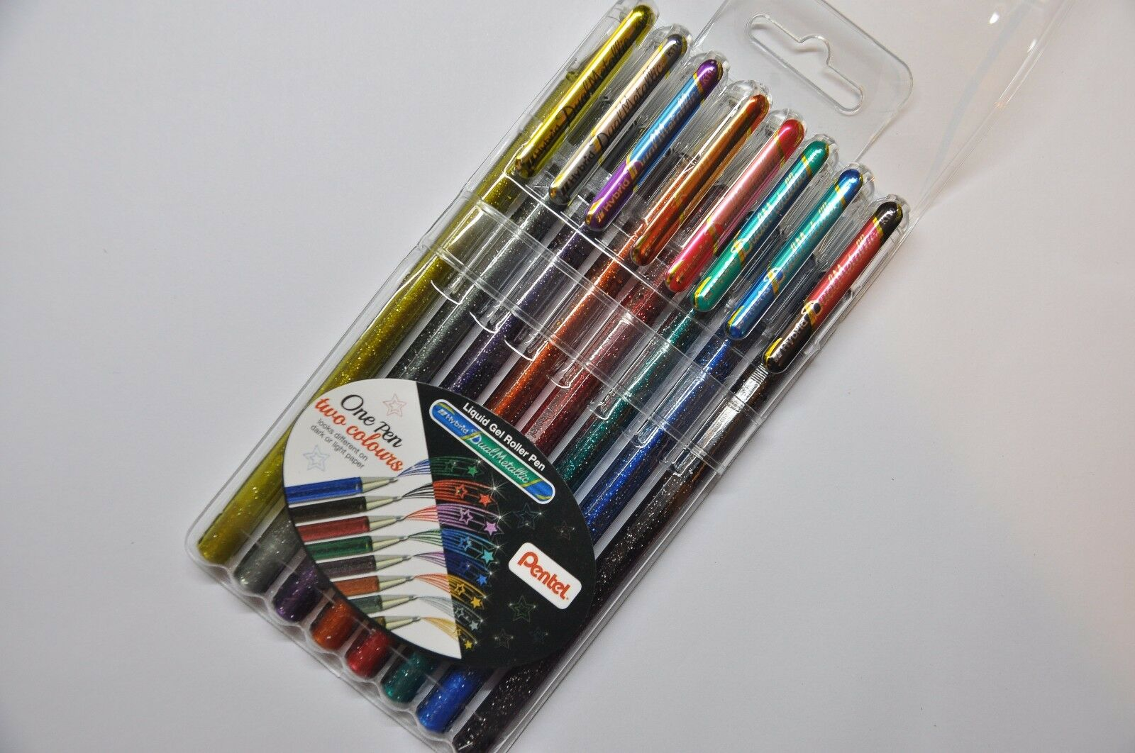 Pentel Hybrid Dual Metallic Gel Roller Pen 8 Color Set