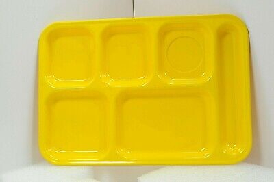 Vintage Plastic Divide Cafeteria Food Tray Yellow Yellow Cafeteria Tray