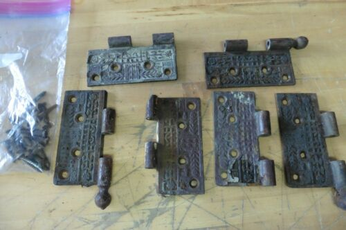 3 sets of vintage antique ornate metal etched door hinges