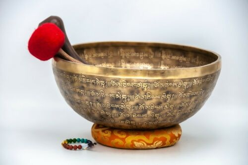 12 inches Large full Mantra carved handmade singing bowl-Tibetan singing bowl