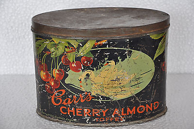 Almond Cherry Toffee - Vintage Carr's Cherry Almond Toffee Ad Litho Tin Box , England